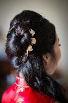 Hair done by expert beautician and bridesmaid Christina.