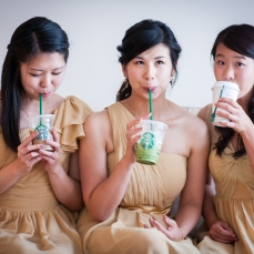 The bridesmaids made the groomsmen fetch them Starbucks before the groomsmen were allowed to enter the house.