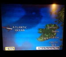 The flight screen as we neared the UK.