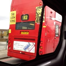 The first double decker we spotted (and that I could take a picture of) in the taxi.