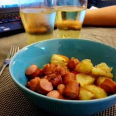 Sausages and hash. This might have been a breakfast, not a dinner.