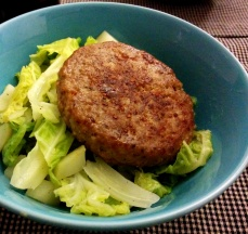 Burger and lots of lettuce. An attempt at being healthy.