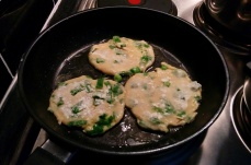 The first of many batches of green onion pancakes made at home.