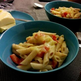 Creamy pasta.