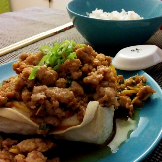 Steamed tofu with ground pork.