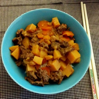 My first slow cooker meal, which was an attempt at beef stew with potatoes and carrots.