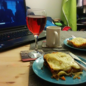 Probably my third attempt at lasagna here. And no, Mum, that's not wine, that's Ribena.