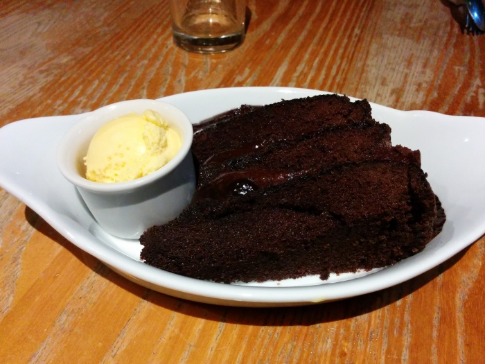 Fudge Cake with Ice Cream at the White Horse