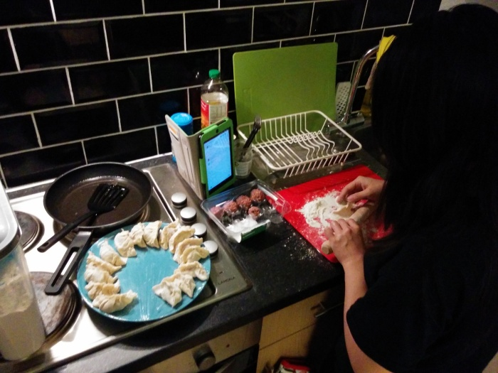 making homemade dumplings