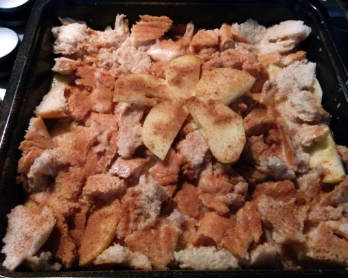 bread pudding to go into oven