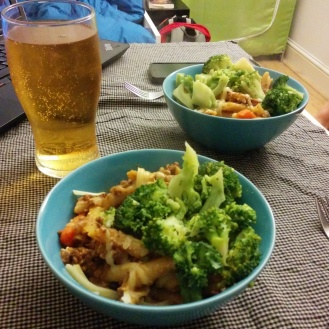 Another basic pasta dish: ground beef, hot sauce, tomatoes and ketchup. And broccoli for good measure.