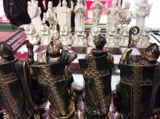 Seriously fantastical chess set, and all brass and glass besides.
