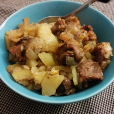 Beef and potato hash with onions. Sorta successful.