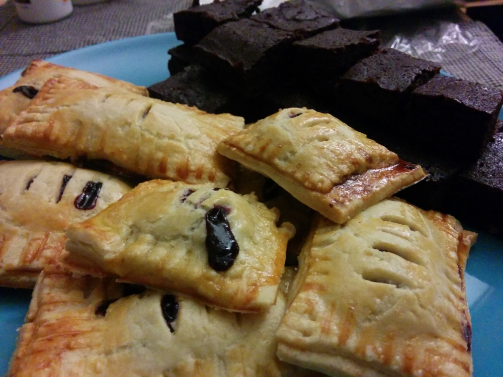 berry hand pies and dark chocolate brownies