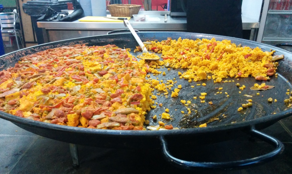 Chorizo paella in markets are often cooked in massive pans like this one.