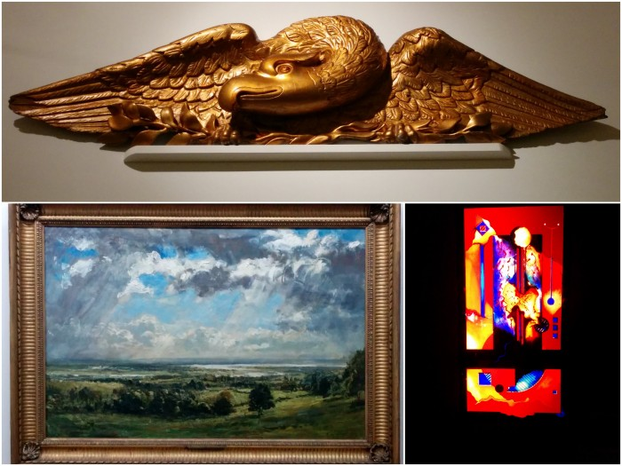 From top clockwise: a golden stylized phoenix, a stained glass window and a gorgeous oil landscape.