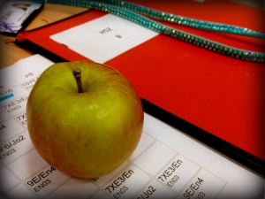 Students do actually give teachers apples :D
